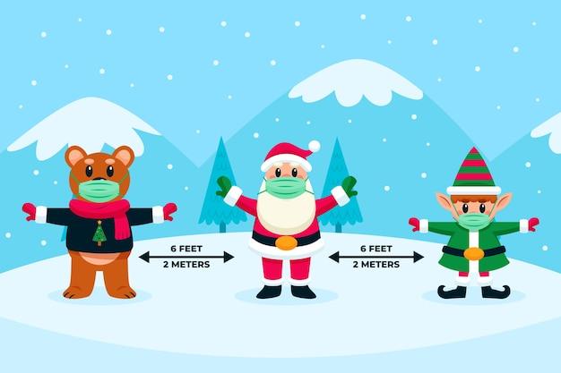 Soziale distanzierung mit weihnachtsfiguren