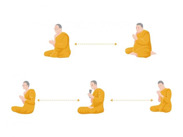 Soziale distanzierung, mönch bete und halte abstand für infektionsrisiko und krankheit