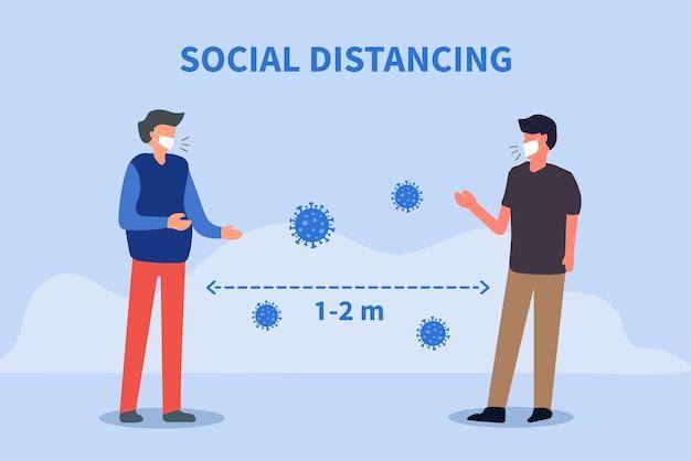 Soziale distanzierung raum zwischen menschen, um die verbreitung des covid19-virus zu vermeiden
