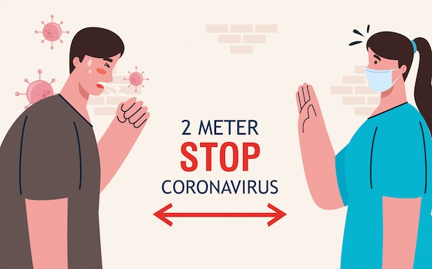 Soziale distanzierung, stopp des coronavirus in zwei metern entfernung, abstand in der öffentlichen gesellschaft zu menschen, die vor covid-19 schützen, paar, das eine medizinische maske gegen das coronavirus trägt