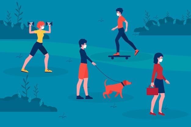 Soziale distanzierung und aktivitäten im park