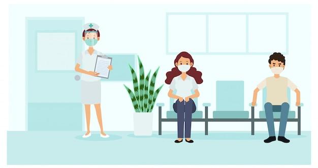Soziale distanzierung und prävention von coronavirus-covid-19: halten sie einen sicheren abstand zu anderen im krankenhaus ein. krankenschwester und patienten im krankenhaus. illustration.
