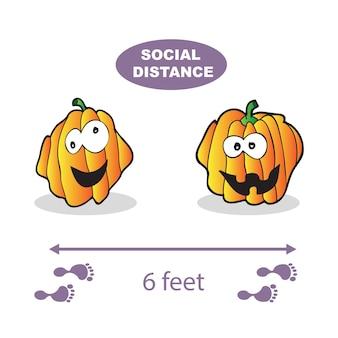 Soziale distanzierung. vektor-illustration mit kürbissen auf weißem hintergrund. covid-19-virus, halloween-vektor
