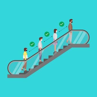 Soziale distanzierung von menschen auf der rolltreppe. das neue normal. verhindern sie die ausbreitung von covid-19.