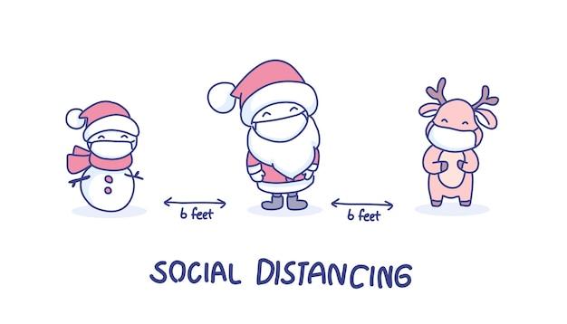 Soziale distanzierung zu weihnachten