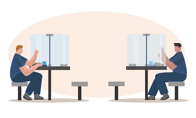 Soziale distanzierung zur mittagszeit am büro-abendessenraum-illustrationskonzept