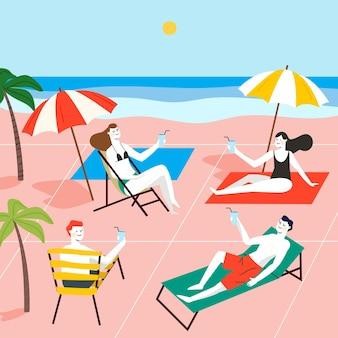 Soziale distanzierung zwischen freunden am strand