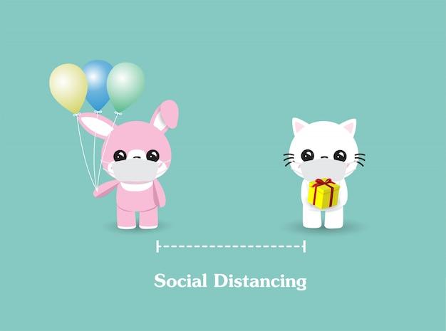 Soziale distanzierung zwischen katze und kaninchen. personen, gesundheitswesen, krankheitsschutz, coronavirus, covid-19