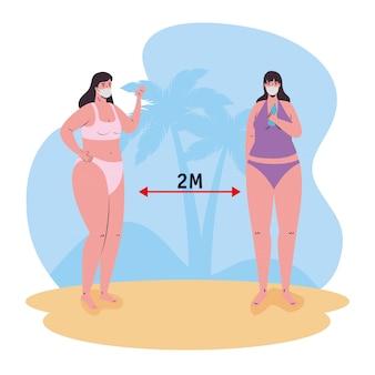 Soziale distanzierung zwischen mädchen mit bikinis und medizinischen masken am strandvektordesign