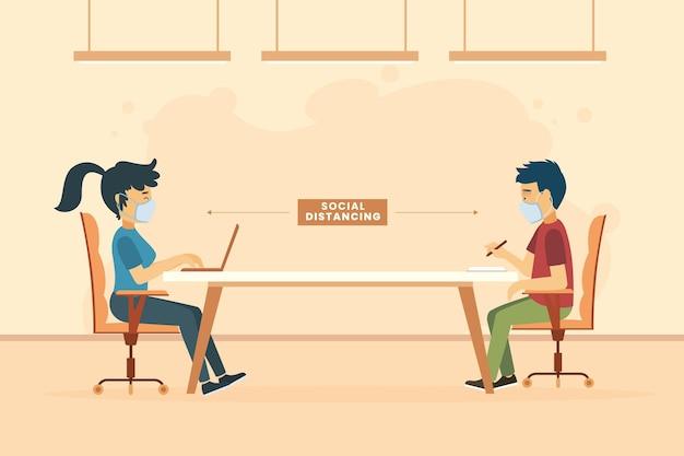 Soziale distanzierung zwischen menschen in einer besprechung