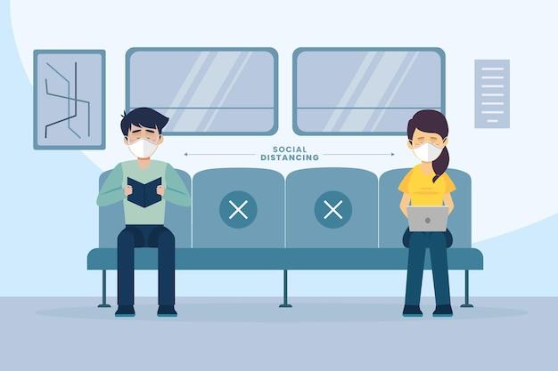 Soziale distanzierungsmaßnahme im öffentlichen verkehr