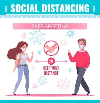Soziale distanzierungsplakat mit zwei personen in masken, die sich sicher cartoon grüßen
