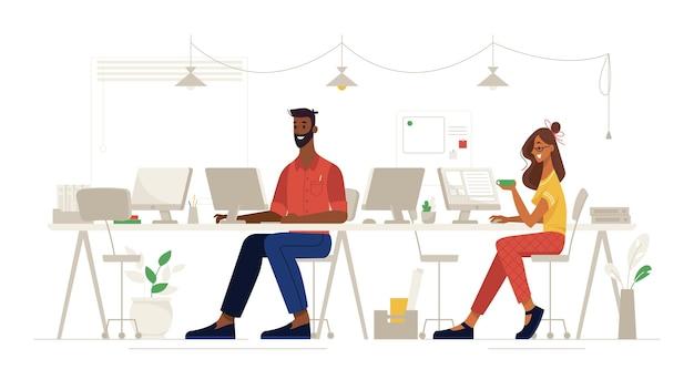 Soziale fernarbeit im büro und sicherheit am arbeitsplatz