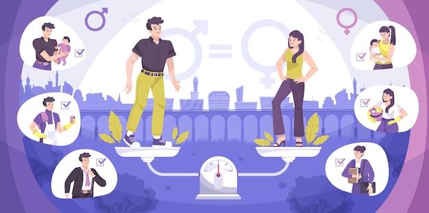 Soziale gerechtigkeit geschlechtsspezifische flache zusammensetzung mit gleichen rechten zwischen männern und frauen in der familienillustration