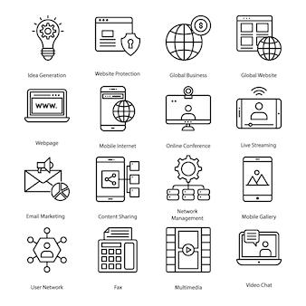 Soziale hilfsmittel-linie ikonen