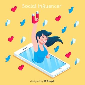 Soziale influencer-konzept mit isometrischer sicht