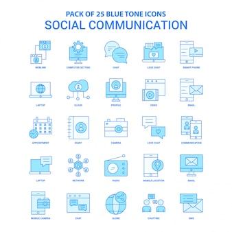 Soziale kommunikation blue tone icon pack