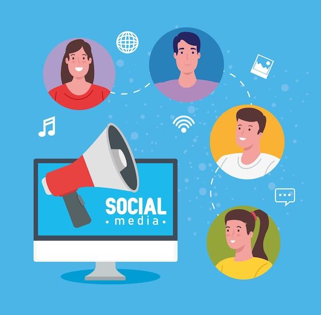 Soziale medien, menschen, die durch computerillustrationsdesign kommunizieren