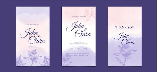 Soziale medienschablone für hochzeitseinladungskarte mit mit aquarellblumenhintergrund