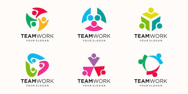 Soziale menschliche einheit zusammen teamwork-logo-symbol