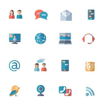 Soziale netzwerke icons set