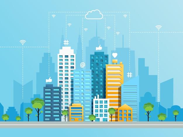 Soziale netzwerkstadtillustration mit modernem stadtbild und ähnlichem herzen bei hashtag-symbolen, die sich von gebäuden zur wolke unter verwendung von wifi bewegen.