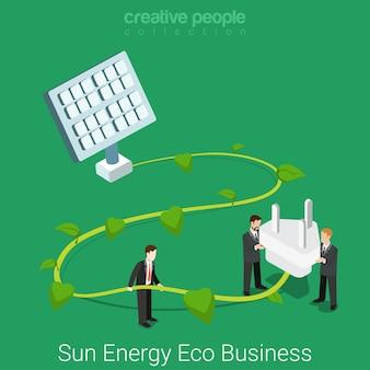 Soziale verantwortung des unternehmens. flaches isometrisches sonnenenergie-öko-geschäftskonzept großer sonnenbatterie-anlagenstiel und steckdose.