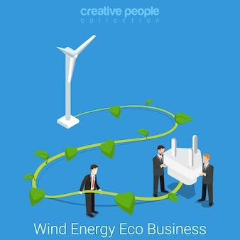 Soziale verantwortung des unternehmens. flaches isometrisches windenergie-öko-geschäftskonzept großer windkraftanlagenstiel und steckdose.