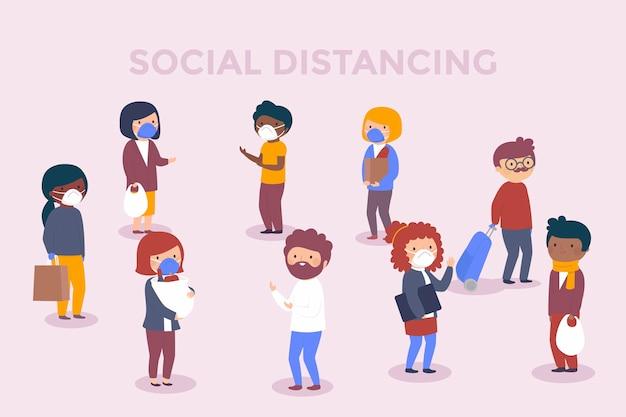 Sozialer distanzierender hintergrund