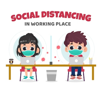 Sozialer distanzierungsschutz am arbeitsplatzkonzept