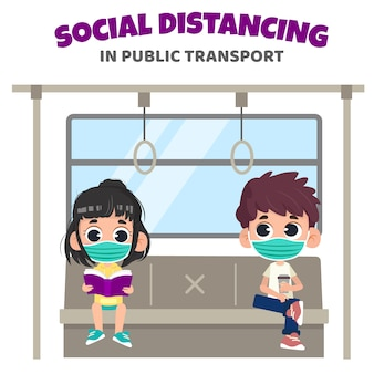 Sozialer distanzierungsschutz im öffentlichen raumkonzept