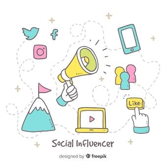 Sozialer influencer hand gezeichneter hintergrund