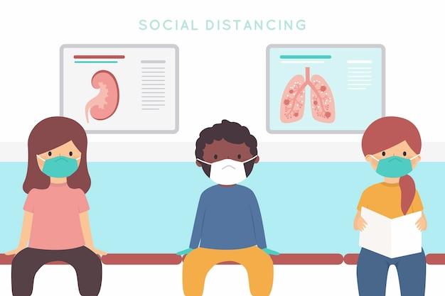 Soziales distanzierendes hintergrundkonzept