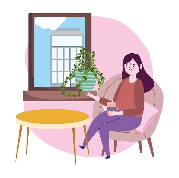 Soziales distanzierendes restaurant oder ein café, frau mit kaffeetasse, die fenster sucht, das auf stuhl sitzt