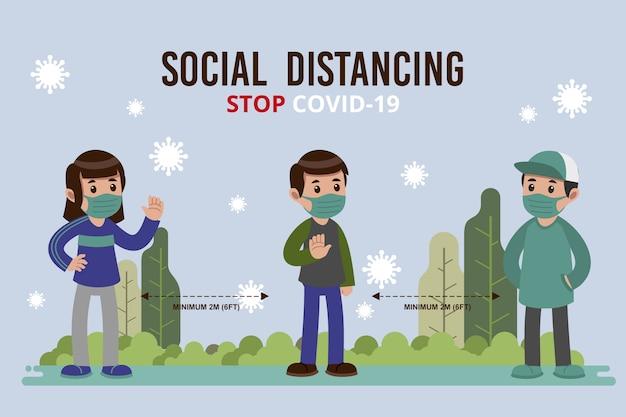 Soziales distanzierungskonzept dargestellt