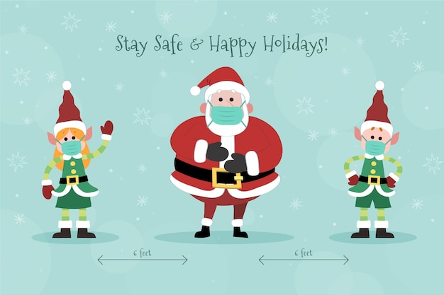 Soziales distanzierungskonzept mit weihnachtsfiguren