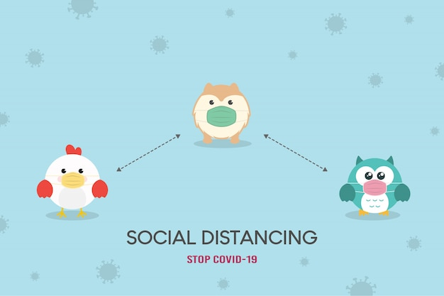 Soziales distanzierungskonzept. prävention von coronavirus (covid-19) abbildung. nette eule, huhn und hund - pommersche welpenfigur, die medizinische maske trägt. stoppen sie coronavirus.