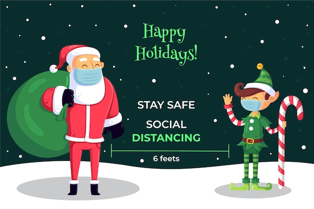 Soziales distanzierungskonzept zwischen weihnachtsfiguren