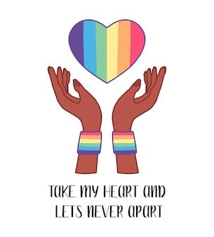 Soziales lgbt-poster, banner mit herz. stolz monat. flache vektorillustration. lesbisches schwul-bisexuelles transgender-konzept liebessymbol.