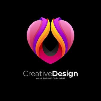 Soziales logo mit liebesdesign, herzlogo medizinisch