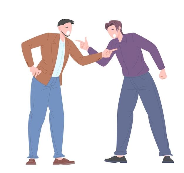 Soziales mobbingkonzept zwischen büroangestellten. junge leute streiten sich, beschuldigen sich gegenseitig. vektor-illustration.