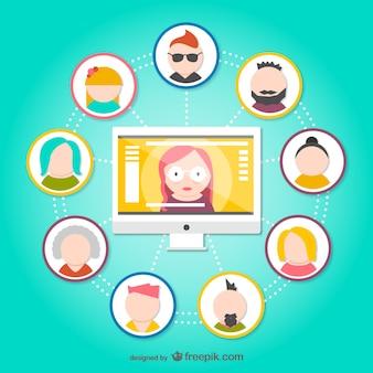 Soziales netzwerk avatare
