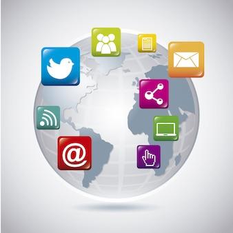 Soziales netzwerk der welt über grauem hintergrund
