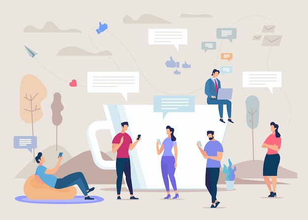 Soziales netzwerk gemeinschaft flache konzept