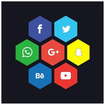 Soziales netzwerk hexa icon set