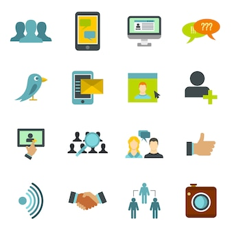 Soziales netzwerk icons set