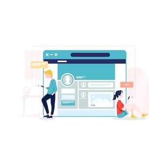 Soziales netzwerk illustration im flachen stil