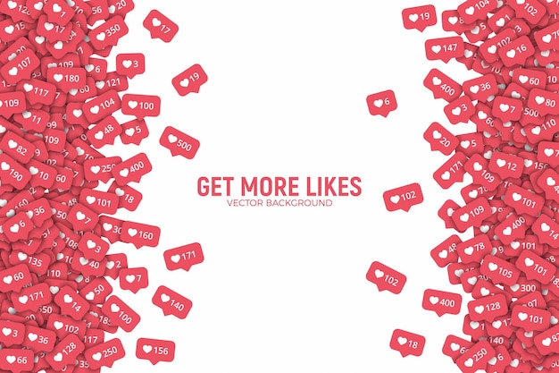 Soziales netzwerk instagram like counter icons abstrakte grenze