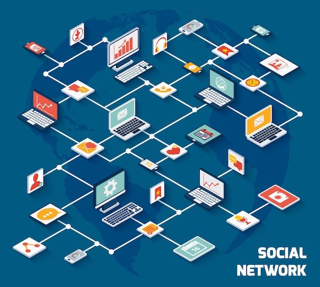 Soziales netzwerk isometrisch