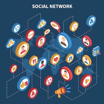 Soziales netzwerk isometrische set